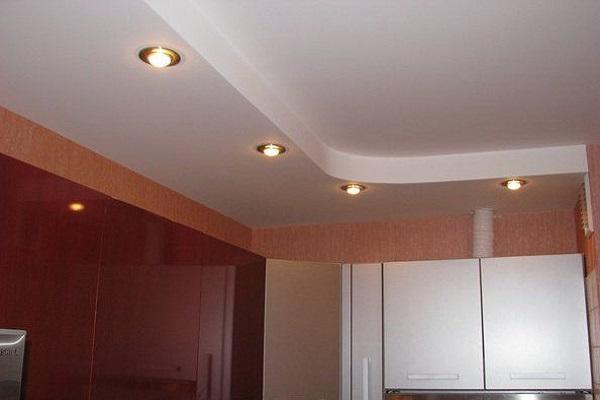 Дизайн потолка на кухню из гипсокартона